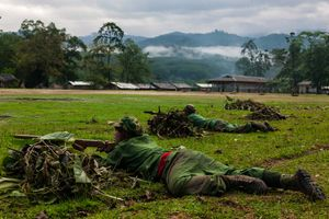 Basic military training began every morning before sunrise at the KIA's military base outside of Laiza, Kachin State, Myanmar, May 17, 2013.               © Adriane Ohanesian