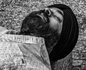 Sikh sleeping at Ground Zero, NYC.