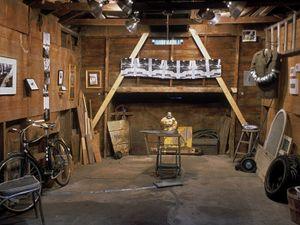 Duct Tape Works garage installation, interior view