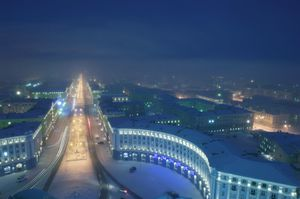 """The construction plan of Norilsk was established in 1940, by architects imprisoned in the nearby Gulag. The idea was to create an ideal city. The most """"ancient"""" buildings are constructed in the Stalinist style. The next step of construction happened in the 60s, when the prevailing method in the USSR was to use pre-built panels. © Elena Chernyshova"""