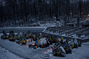 Lviv Cemetery, more than 1000 km from the ATO area. Fresh graves of Ukrainian soldiers originally from Lviv, who were killed in eastern Ukraine. Dec. 28, 2014.