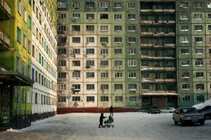 """The majority of the buildings in Norilsk, Russia, are constructed with pre-built panels. These buildings were called """"Gostinka"""" and were considered temporary accommodations for newly arrived workers, but many of them became permanent dwellings and remain today. © Elena Chernyshova"""