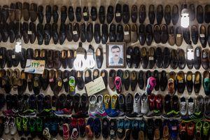 Shoe store in the bazaar.