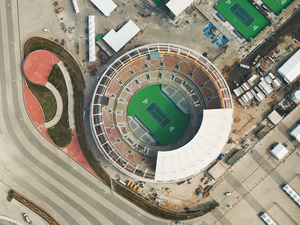 The completed Olympic Tennis Arena named after Brazilian tennis star Maria Esther Bueno has a capacity of over 19,000 and is a permanent structure, Barra da Tijuca, 2016