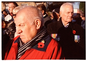 Dad (foreground) with mourners. Remembrance Day, East Bierley, Bradford. UK. Sunday 08 November  2015