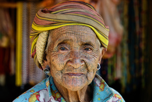Old woman from the Chin tribe - Myanmar
