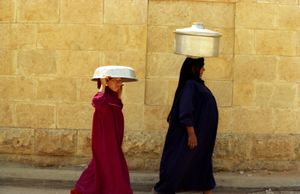 Woman and Child Carrying on Their Heads, Cairo, Egypt