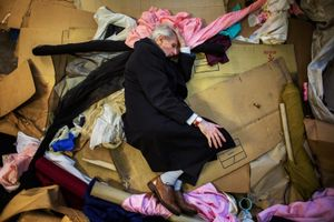 George is taking a rest on cardboards and pieces of fabrics in a squatted fabric storehouse. Having been a squatter in the late 70s, he still engages in the current squatting scene by visiting different squats and participating in eviction resistances.  © Corinna Kern