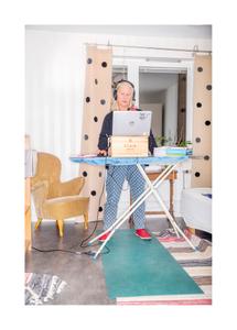 Lisa Kjellberg, teacher. Homeoffice at ironing board.