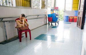A mentally disabled child at Peace Village ward at Tu Du Hospital in Ho Chi Minh City, Vietnam.