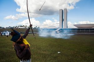Indigenous warrior against the  National Congress Building