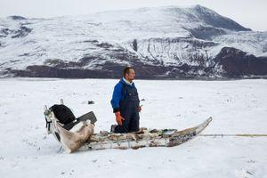 Kim on his sled, Saqqaq