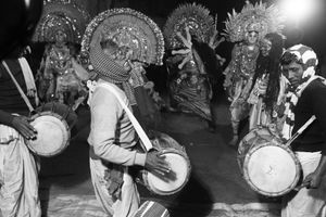 The dance is accompanied with local folk melodies played by instruments like the reed pipes 'mohuri', 'shehnai', 'drum' etc.