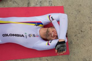 Edwin Matiz, 23, is in pain during a stretching session after the cycling practice at Salitre Sports Complex, Bogotá, June 2016.