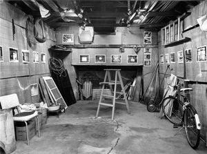 """Garage Interiors"" installation (interior view towards rear wall), Madison, WI, June 1983"