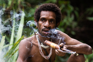 Korowai man enjoying his pipe after cutting a sago palm tree. West Papua - Indonesia
