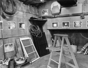 """Garage Interiors"" installation (interior view detail, towards far left corner), Madison, WI, June 1983"