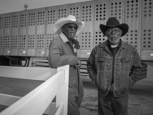 James Forrest, 68 (L) and Shelly Drane, 74 (R) are members of the Memphis Regulators riding club and still compete in the rodeo relay races. They were photographed at the Bill Pickett Rodeo in Memphis, TN on March 28, 2015.