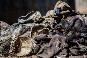 Remained skull of Islamic state fighter at the back of a truck on 25 April 2015.After the liberation of Kobane a committee was found to oversee the clean-up operation in war-ravaged town of Kobane.