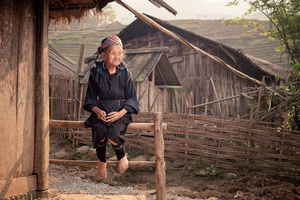 Black Hmong old lady in Lao Cai Province