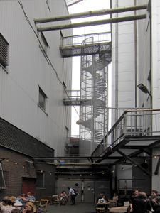 Café of De Fabrique, a former factory near Utrecht NL built in 1921  for the production of fodder and lineseed oil; now in use as a location for events.