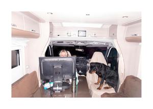 Pia Andersson, administrative cordinator. Homeoffice in the caravan.