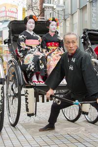 Old man and geisha girls