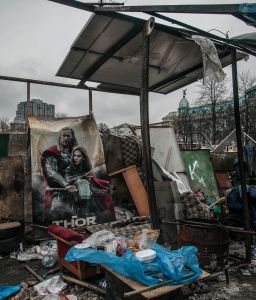 Temporary campsite on the outskirts of Independence Square, February 2014.