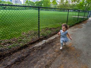 Child Running Near Sheep Meadow