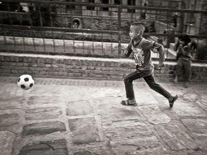Boy with a football, Bhaktapur, Nepal