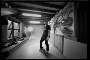 Chris Pond, Portrait, Lounge Room Wallride, Frenchs Forest, NSW