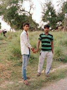 Friends Chotu and Rajan leaving the temple.  Sahibganj - Jharkhand 2017