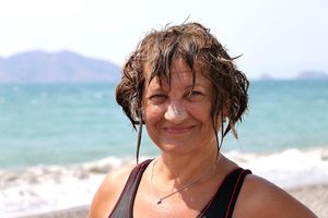 Just from the sea. My friend and travel companion Margarita in Turkey.