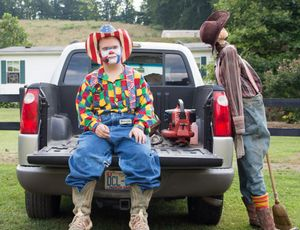 chain saw and scarecrow
