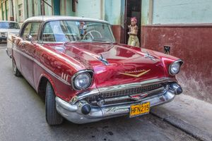"Restored, ""Cherry"" Chevy and Girl, Havana."