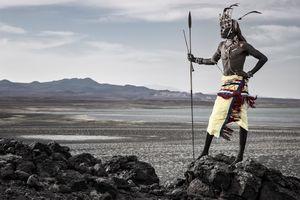 Rendille warrior on the shore of Lake Turkana.