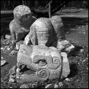 Chacmool and serpent head