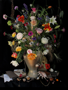 Still Life with Flowers and a Skull  (Collaboration with Ronald van der Hilst),  Studio, Antwerp