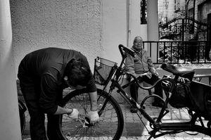 Bike mechanic in Shanghai China