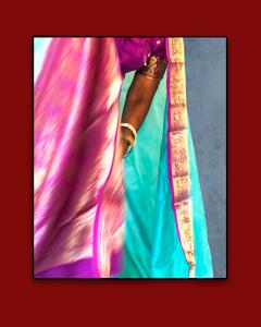 Violet and Aqua Sari with Forearm,
