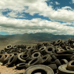 Landscape with tires