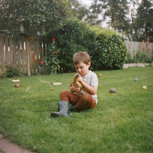 Josiah and a Baby Bantam, August 2020