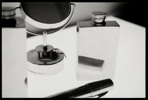 Art Deco Silver Bottle, Mirror and Silver Pen