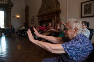 Mrs Carla Magni, 100 years old, during a collective gym class in the afternoon.