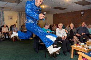 """Elvis impersonator Bobby Diamond AKA """"The Black Elvis"""" performing in sheltered housing, Hull 2017"""