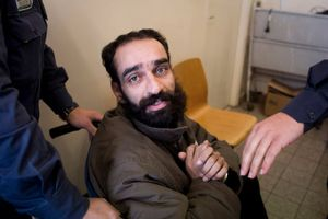 Palestinian hunger-strike prisoner, Samer Issawi, is seen inside an Israeli court house after his hearing, Jerusalem, 2012.
