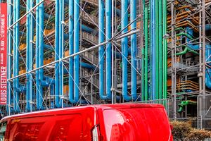 Red Truck and Pompidou Exterior