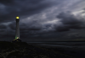Solitary lights / Slangkop lighthouse, on the Atlantic Ocean, South Africa. I love this lighthouse, above all at twilight and when the sky is overcast and a storm is approaching. Then it reminds me of something like the Treasure Island, Long John Silver and the books I read when I was a boy ...