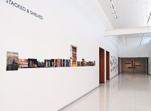 "Full installation view, ""Stacked & Shelved,"" Diane E. Ballweg Gallery, Madison Public Library, 2015"