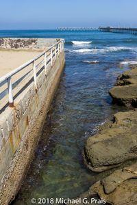 Rail Wall Water and Rocks